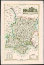 1846 - Original Antique Map of HAMPSHIRE by Slater WINCHESTER CATHEDRAL Colour