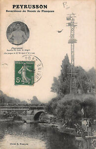Vintage Paul Peyrusson High Dive World Record River Original French Postcard
