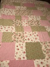 """Floral Castle Patchwork Cotton Quilt Pink Flowers 88""""x92"""" in Simply Shabby Style"""