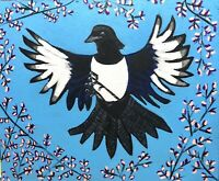 Original Painting Of A Magpie Landing In Blossom Tree,folk/naive Bird Art