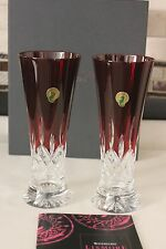 WATERFORD CRYSTAL LISMORE RED PILSNER SET OF TWO