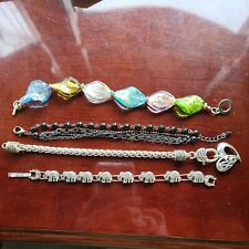 Lot 4 Costume Jewelry Bracelets Elephants Glass  Black Glass Heart Charm