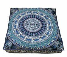 Mandala Animal Print Floor Cushion Cover Square Meditation Cotton Handmade Art