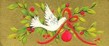 Vintage Atomic Christmas Greeting Card Front Peace Dove Mid Century Mod 1960s