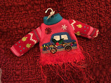 Sweater with A Car Christmas Ornament By Living Quarters NWT