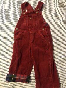 Polo Ralph Lauren Red Plaid Corduroy Overalls Size 18 Months Boys Vtg Vintage
