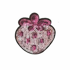 Sequin Pink Strawberry (Iron on) Embroidery Applique Patch Sew Iron Badge