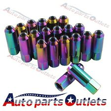 NEO CHROME WHEEL LUG NUT FOR FORD MUSTANG EXTENDED FORGED ALUMINUM TUNER RACING