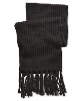 Steve Madden Mens Solid Black One Size Chunky Knit Tassel Trim Scarf $46 080