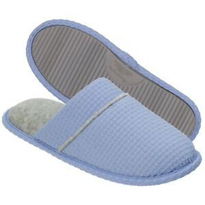 Dearfoams Womens Waffle Knit Closed Toe Scuff Slide Slipper Blue Large 9-10