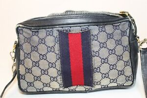 Gucci DISTRESSED Italy Made Vintage 80's Accessory Collection GG Monogram Bag