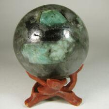"2.2"" Green EMERALD Crystal in Schist Sphere Ball w/ Stand – Carnaiba, Brazil"