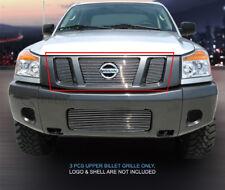 Fits 2008 - 2015 Nissan Titan Billet Grille Grill Upper Insert 3 Pcs Fedar