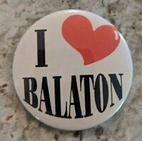 "Vintage I ❤️ Balaton Heart Pinback Button White Black Red Minnesota MN 2 1/4"""