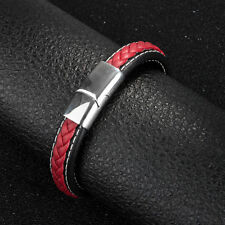 Fashion Men Boys Concise Leather Bracelet Braided Bangle Gifts Party for Male Red 20.5
