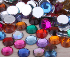 200pcs 8mm Acrylic Crystal Round Faceted Flat Back Rhinestones Beads DIY Mixed