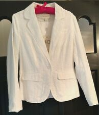 NWT MONSOON White Eyelet Blazer Jacket Sz 8 100% Cotton Lined Longsleeve $100