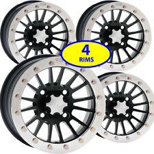"FOUR 15"" ITP Rims Matte Black Polished Ring 15x7 4/110 5+2 SD Beadlock Wheel RIM"