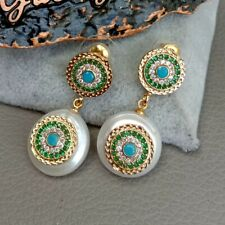 Cultured White Coin Pearl Cz pave Stud Earrings