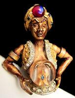 "Rare Vtg 2-1/4"" Signed HAR Goldtone Jeweled Fortune Teller Genie Brooch Pin A64"