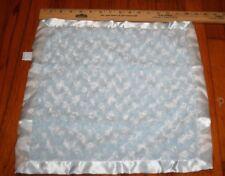 Bearington Baby Collection Blue Minky Swirl Security Blanket Satin Back Furry