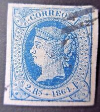 Spain 1864 2Rs Blue on White Paper. SG 80b. Used.