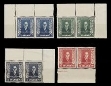1952 FIRST PRESIDENT OF ICELAND PAIRS  BORDER AND CORNER PLATE SCT. 274-277 NH