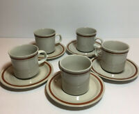 AUTUMN COLLECTION STONEWARE JAPAN COFFEE CUPS MUGS SAUCERS S/5 RESTAURANT  WARE