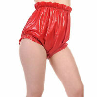 100% Latex underwear Rubber Triangle Shorts Lose Ruffle Briefs Pants 0.4mm S-XXL