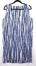 Anne Klein Womens Size 12 Blue Brown Sleeveless Print Casual V-Neck Dress