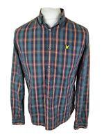 Mens Lyle And Scott Check Tartan Plaid Shirt Green Medium Large 42 Chest
