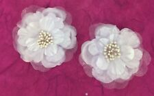 2 Satin & Organza Layered Flowers with Pearl Stamen Centres 6.5cm White Wedding