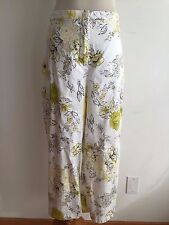 Coldwater Creek Cropped Pants White w/Yellow, Straw, Olive & Brown Size 14