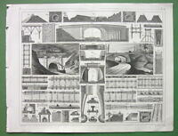 RAILROADS Bridges Viaducts Construction - 1844 SUPERB Antique Print