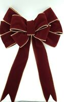 Beaded Red Velvet Wired Christmas Bow, Holiday Decorations, Bows