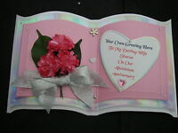 3 Layer BOOK Birthday Card WIFE Girlfriend PINK 3D FLOWERS CHAMPAGNE Boxed WFG