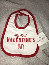 Brand New With Tags Carter's Baby Bib My First Valentine's Day Red One Size Cute