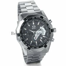 Mens Black Dial Skeleton Automatic Mechanical Date Stainless Steel Wrist Watch
