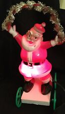 Vintage Plastic Light-Up Santa On Wheels