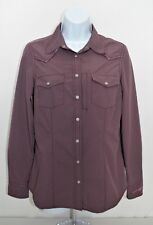 Ryan Michael Western Fitted Shirt Top Womens Sz S Small Snap Buttons Muave Nylon