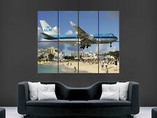 747 JUMBO JET LANDING CARRIBEAN BEACH SEA ART WALL LARGE IMAGE GIANT POSTER
