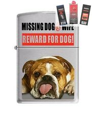 Zippo 200 Missing Dog Wife Reward Lighter + FUEL FLINT & WICK GIFT SET