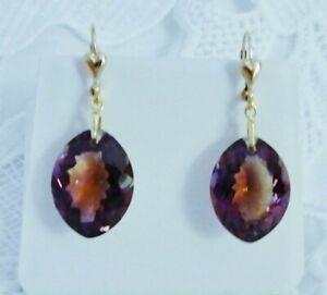 40cts Ametrine Earrings Natural Bolivia Purple Golden stones 14kt gold leverback