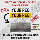 Reg To Vin Service For All Motors Vin Finder From Registration Number. V5 C V62⚡