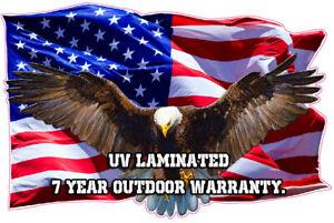 "Soaring Bald Eagle American Flag Decal UV Laminated X Large 48"" Free Shipping"