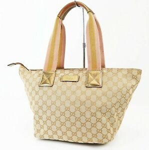 Authentic GUCCI Beige GG Canvas and Gold Leather Tote Hand Bag Purse #37874