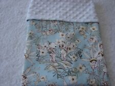 Gumnut Babies Blue Cotton Front White Minky Bassinet/Crib Blanket Handmade