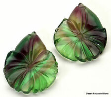 Argentina Rainbow Fluorite Carving Gemstone Pair Regenbogen Paar 39,87ct