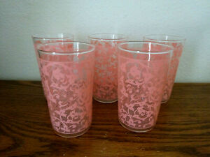 5 VINTAGE 1950's DRINKING GLASSES, PINK LACE PATTERN, LIBBY?