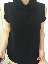 SEED HERITAGE WOMENS  TOP TURTLE NECK BLACK POLY VISCOSE SZ 12 NWT